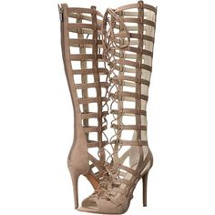 KENDALL + KYLIE Emily (Taupe Suede) High Heels ($110) ❤ liked on Polyvore featuring shoes, sandals, taupe, taupe sandals, lace up sandals, open toe sandals, lace-up gladiator sandals and gladiator sandals