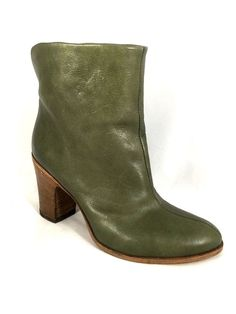 Fiorentini+Baker Ankle Boots Booties Olive Green Leather Pull On 36 6 Italy #FIORENTINIBAKER #AnkleBoots #Any