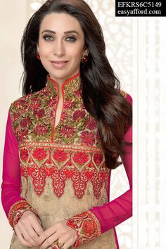 Dashing Karishma Kapoor Beige Pink Suit, For Buy Call or Whatsapp 08968017642, 07837409851 or  Click this link Below http://easyafford.com/salwar-suits/1135-dashing-karishma-kapoor-beige-pink-suit.html