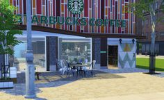 The newly opened San Myshuno Starbucks San Myshuno, Starbucks, Sims, Pergola, Outdoor Structures, World, Decor, Decoration, Mantle
