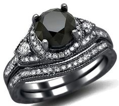 195ct Black Round Diamond Engagement Ring Bridal by FrontJewelers, $1570.00