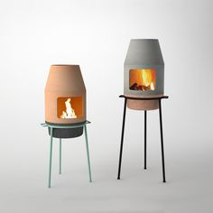modern clay fireplace