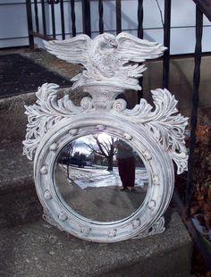 Turner Mirror, Large Vintage Eagle Porthole mirror hand painted Rustic Ivory Cream, Shabby cottage Wall decor, Man Cave gift, Americana MCM by UpcycledCottageDecor on Etsy