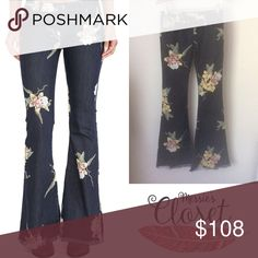 "Free People Floral Bali Bells in Miami Nights 34"" inseam, new without tags. Free People Jeans Flare & Wide Leg"