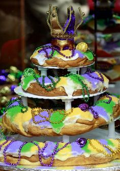 RUSTY COSTANZA / THE TIMES-PICAYUNE A multi tiered king cake is on display at Haydel's Bakery in Jefferson on Tuesday, January 24, 2012....