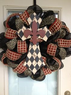 Cross Door Wreath - Fleur De Lis - Front Door Wreath