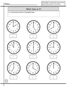 Great worksheets for telling time perfect for year 1& 2