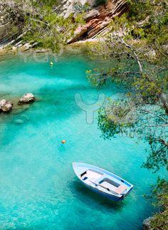 Calvia Cala Fornells turquoise Mediterranean in the Balearic island of Majorca, Spain