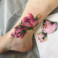 ankle tattoo flowers