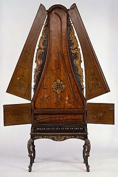 The Metropolitan Museum Clavicytherium Date: mid-18th century Geography: Germany? Culture: probably German Medium: Wood, various materials Classification: Chordophone-Zither-plucked-harpsichord