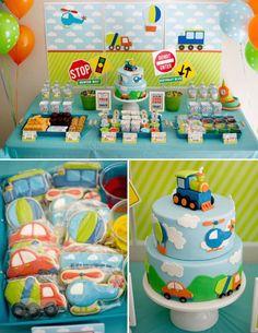 Decoración de transportes para cumpleaños de niños