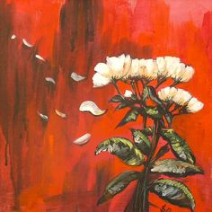 Petal Spell   Acrylic Modern Painting with White Flower   Original Acrylic Painting   Dora Stork   Encaustic Artist Stork, Acrylic Paintings, White Flowers, Floral, Artist, Modern, Trendy Tree, Flowers, Artists