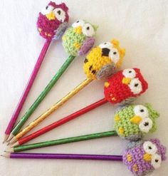 Cute little crocheted owl pencil or pen toppers by KezzasKnits