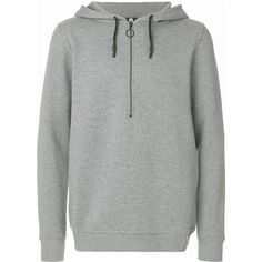 Kappa hooded pullover with back logo ($125) ❤ liked on Polyvore featuring men's fashion, men's clothing, men's hoodies, grey, mens grey hoodies, mens sweatshirt hoodies and mens hoodies