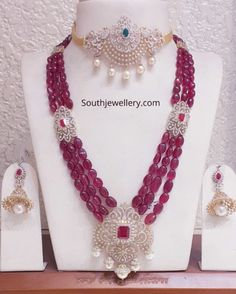 Pearl Necklace Designs, Jewelry Design Earrings, Gold Jewellery Design, Bead Jewellery, Necklace Set, Beaded Jewelry, Fancy Jewellery, Ruby Necklace, Bridal Necklace