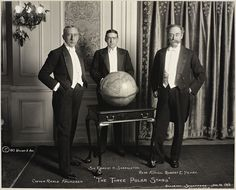 """The Three Polar Stars"" (1913): Roald Amundsen (leader of the first expedition to traverse the Northwest Passage and to reach the South Pole), Ernest Shackleton (who held the farthest South record before Amundsen reached the South Pole), and Robert Peary (who was the first to reach the North Pole, though his claim is still debated)"
