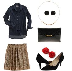 Navy Chambray Shirt ($60)/Sequin Skirt ($148)/ Gold Necklace ($40)/ Earrings ($78)/ Clutch ($36)/ Shoe Clips ($25)/ Black Pumps ($69)