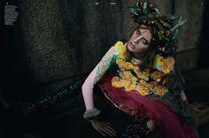 """Super Natural""   Model: Julia Frauche, Photographer: Yelena Yemchuk, Dazed & Confused, January 2012"