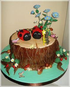 Tree stump cake Ant holding candle Mushrooms Fondant look Snail