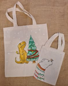 Christmas T-rex and little bear Christmas Bags, T Rex, Reusable Tote Bags, Bear, Bears