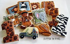Safari Theme Cookies, Monkey, Tiger, Lion, Zebra, Giraffe, Elephant Cookies, Zoo Theme Cookies - 1 Dozen via Etsy