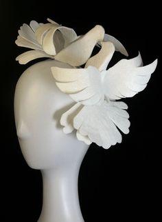 Heart doves by Ozmonda Wedding Hats, Fascinator, Heart, Headdress, Headpiece, Hearts, Bridal Headdress