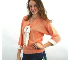 1980s sweater peach knit top with white bow NOS New old stock batwing sleeves pearl buttons Marisa Christina Size S/M