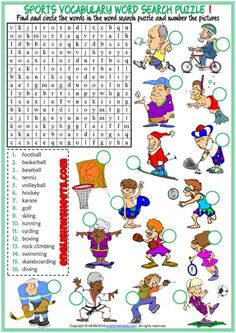 Sports ESL Printable Word Search Puzzle Worksheets For Kids English Games, English Resources, English Activities, Education English, English Lessons, Teaching English, French Lessons, Spanish Lessons, Teaching Spanish