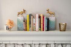 DIY book ends - brick and plastic animal