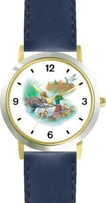 Mallard Ducks on the Lake JP - Bird Animal - WATCHBUDDY® DELUXE TWO-TONE THEME WATCH - Arabic Numbers - Blue Leather Strap-Size-Children's Size-Small ( Boy's Size & Girl's Size ) WatchBuddy. $49.95