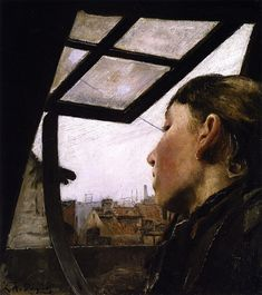 Ring, Laurits Andersen (1854-1933) -1885 Young Girl Looking out a Window (Design Museum, Copenhagen, Denmark)    Oil on cardboard.    Laurits Andersen Ring (1854–1933) was one of the foremost painters of Danish symbolism