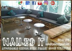 All done and dusted. 3m Bar and L-Shape patio set fully installed. Affordable, custom built, palletwood furniture. Designed by you, built by us. For more info contact naileditpallets@gmail.com #palletpatioseating #patiofurniture #palletpatiofurniture #palletbarcounter #palletbarideas #palletbar #nailedpalletfurnituredurban #naileditcustombuiltpalletfurniture #custompalletfurnituredurban #palletfurniture Outdoor Furniture Sets, Patio Seating, Outdoor Sectional Sofa, Decor, Furniture, Home, Pallet Patio Furniture, Pallet Furniture Outdoor, Home Decor