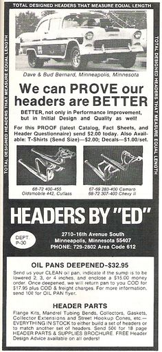 """Headers by """"Ed"""" Popular Hot Rodding, July 1972  Featuring Dave & Bud Bernard of Minneapolis, Minnesota and their classic #Chevrolet"""