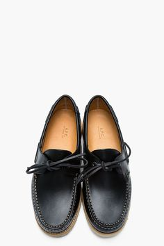 A.P.C. Black leather dock loafers