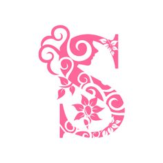 Graphic Design of Flower Clipart - Pink Alphabet S with White Background
