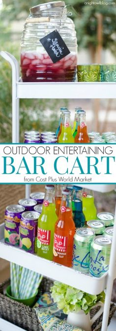 Great tips on setting and styling your outdoor bar cart! #SummerGetaway