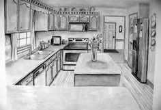 Drawing a kitchen in perspective is another great idea. Kitchens contain a wide variety of forms and often have interesting reflective surfaces. This example contains carefully staged still life items to help complete the scene.