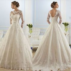 Long-sleeves-a-line-Wedding-Dress-Bridal-Gown-custom-size-4-6-8-10-12-14-16-18