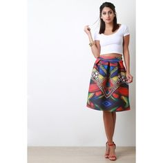 Geo Print Scuba Box Pleated A-Line Skirt (1 310 UAH) ❤ liked on Polyvore featuring skirts, box pleat skirt, a line midi skirt, midi skirt, box pleat midi skirt and white knit skirt