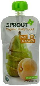 Save $7.92 on Baby Food, 95% organic, Pear & Apricot, 4 Oz (pack of 10 ) ( Value Bulk Multi-pack); only $47.88  #Sprout