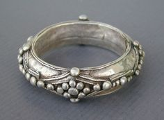 "Africa | Antique silver Moor or Tuareg bracelet from Mauritania or South Morocco ( Guelmim ).  Good alloy of silver content | See similar sample in "" Bijoux du Maroc "" by Jacques and Marie-Rose Rabaté, p. 186 and 191.  