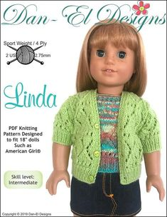 """18/"""" Doll Knitting Pattern will fit American Girl Tulip Jumper and Tote"""