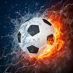 soccer ball in fire and water. illustration of the soccer ball enveloped in elements on black background. high resolution soccer ball in fire and water image for a soccer game poster. Soccer Pro, Soccer Players, Soccer Drills, Girls Soccer, Soccer Scores, Youth Soccer, Soccer Games, Nike Soccer, Football Soccer