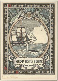 The bookplate of Eugenia Beetle Herring, collected by Daniel Fearing. Designed by R.S. Woodward.