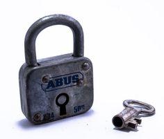 Vintage ABUS padlock with skeleton key Made In by RusticHomeDeco