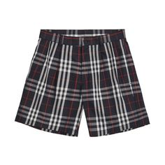 Gosha x Burberry Check Shorts (Navy) ($415) ❤ liked on Polyvore featuring shorts, checked shorts, navy blue shorts, burberry, navy shorts and checkered shorts
