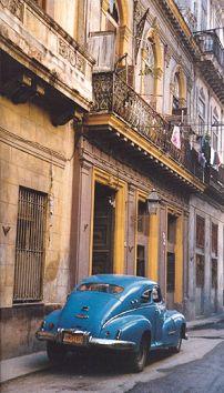 Blue car-Havana, Cuba