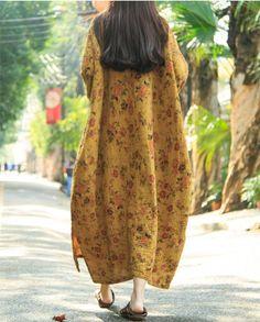 Women Print Retro Cotton Linen Long Sleeve Dress