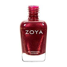 Zoya Nail Polish in India.  Very pretty dark red - very little of the gold sparkle shows up in the nail, but still a nice colour, classy and classic.