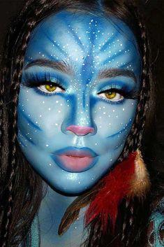 Avatar Halloween Makeup Idea For beautiful and unique fa. Avatar Halloween Makeup Idea For beautiful and unique fantasy makeup ideas browse our gallery. Makeup Clown, Sfx Makeup, Costume Makeup, Devil Makeup, Witch Makeup, Face Makeup Art, Makeup Eraser, Skull Makeup, Cosplay Makeup